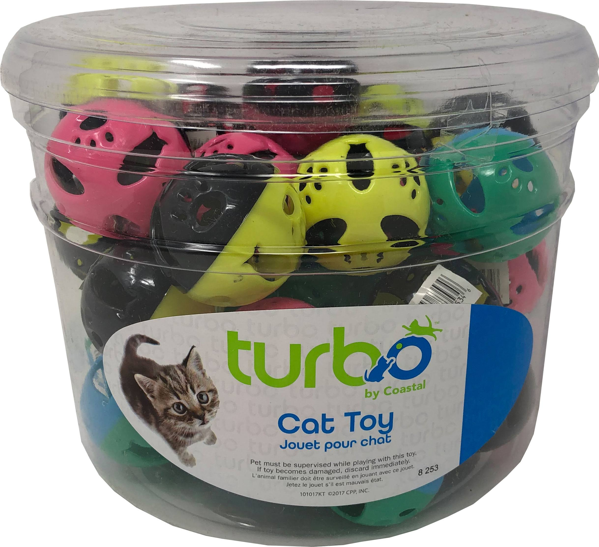 Coastal Pet Products 80534 NCLCAT Turbo Plastic Balls Cat Toy Canister - Multicolor 36 Piece - Pack of 8