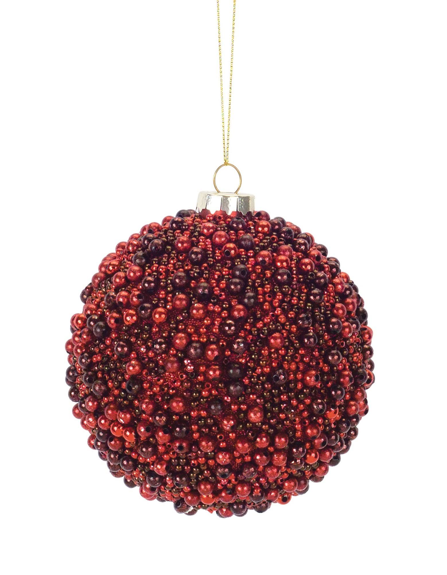 Melrose Holiday Ornament Red Beaded Small Glass Ball Ornament One-Size