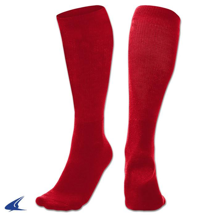 Champro Multi-Sport Socks - Dozen - Scarlet - Medium