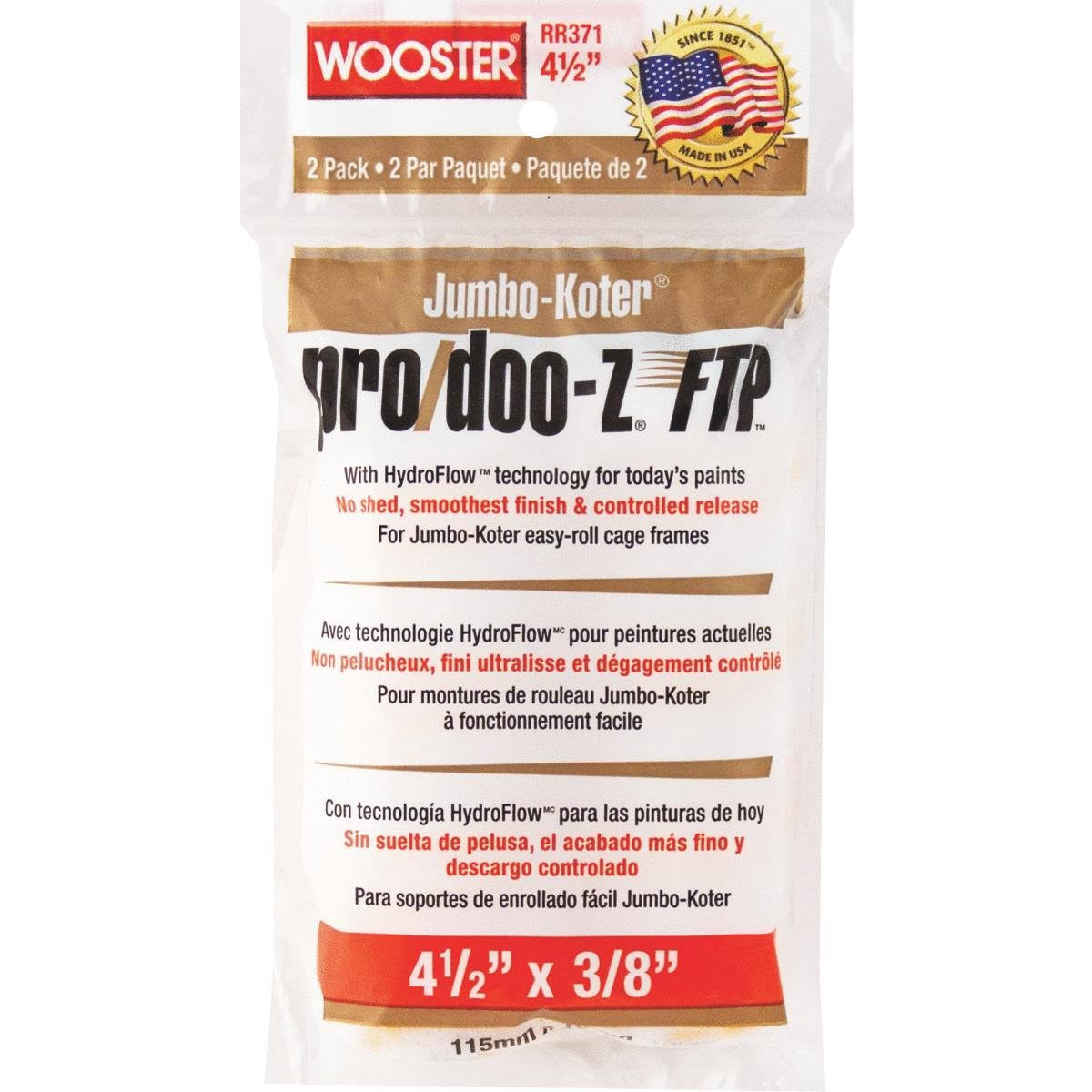 Wooster Paint Roller Cover, Jumbo-Koter Pro/Doo-Z FTP, 2-Pack, 3/8-In.