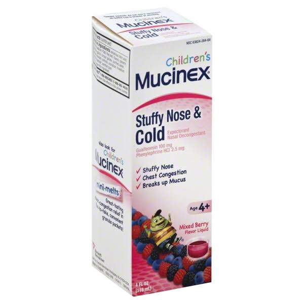 Mucinex Children's Stuffy Nose and Cold Expectorant & Nasal Decongestant - Mixed Berry, 4oz