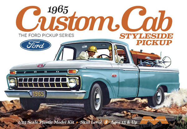 Moebius 1965 Ford Custom Cab Styleside Pickup Model Kit - Scale 1:25