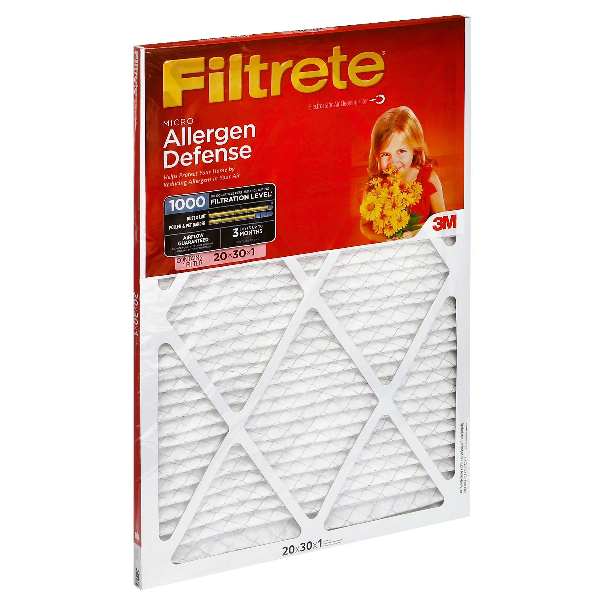 "3M Filtrete Micro Allergen Defense Filter - White, 20"" X 30"", 6ct"
