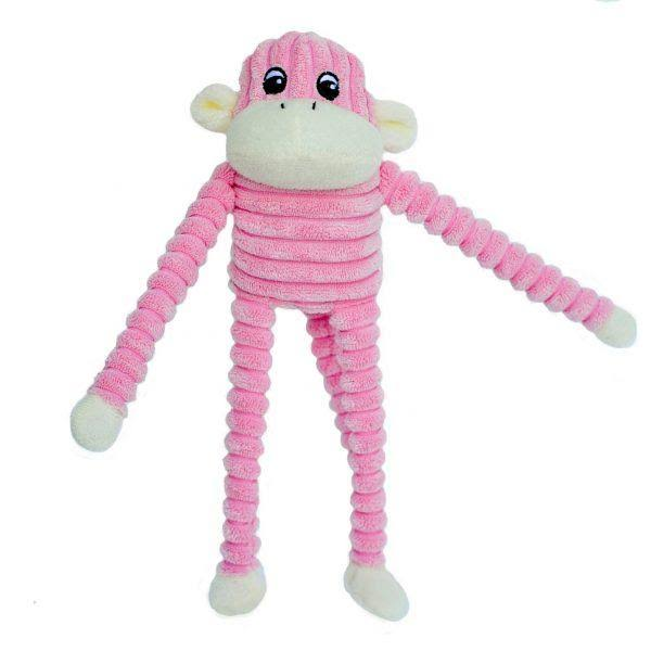 Zippypaws Squeaky Plush Dog Toy - Spencer the Crinkle Monkey, Small, Pink