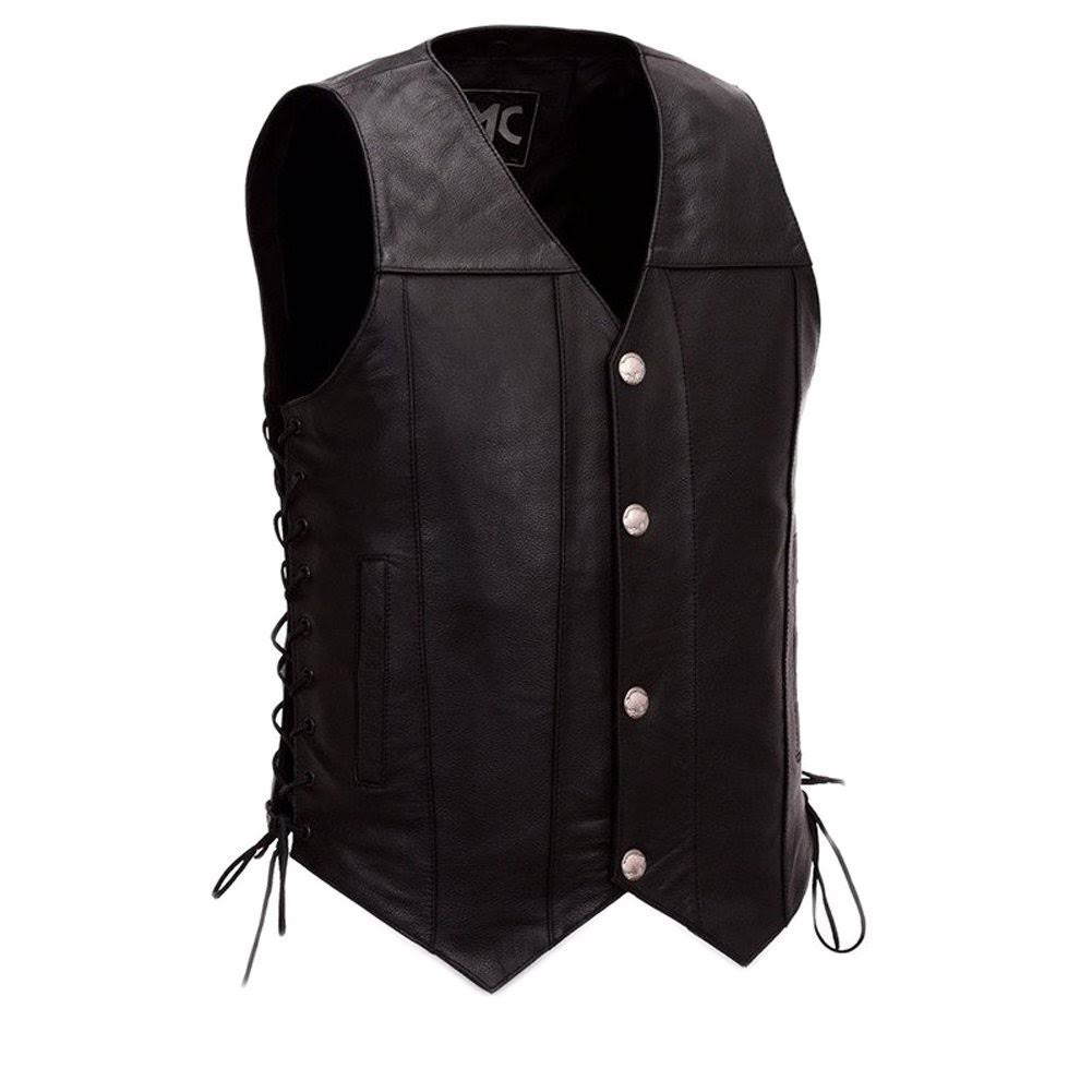 First Manufacturing Men's Gun Slinger Motorcycle Vest - Black, 2XLarge