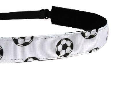 Mavi Bandz Adjustable Non-Slip Fitness Headband Soccer Balls - White