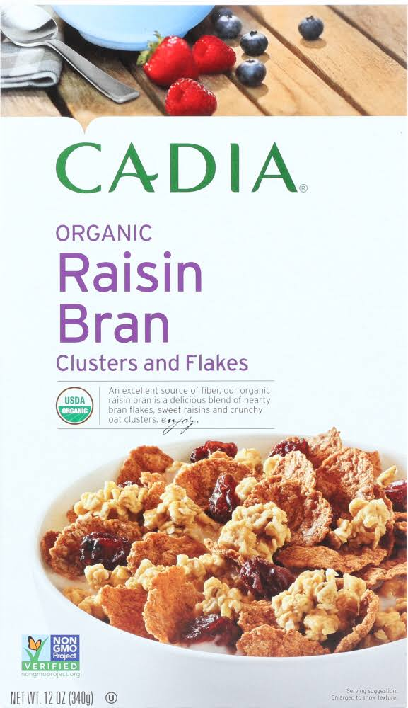 Cadia Organic Raisin Bran Clusters and Flakes - 12 oz