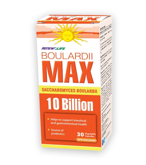 Renew Life Boulardii Max Supplement - 30 Vegetable Capsules