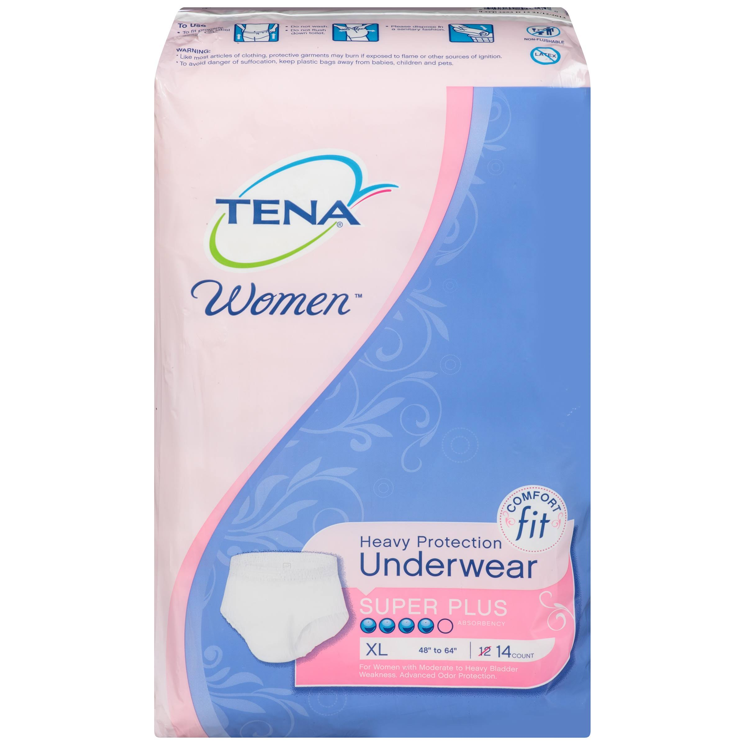 Tena Women Heavy Protection Underwear - X-Large, 14pk