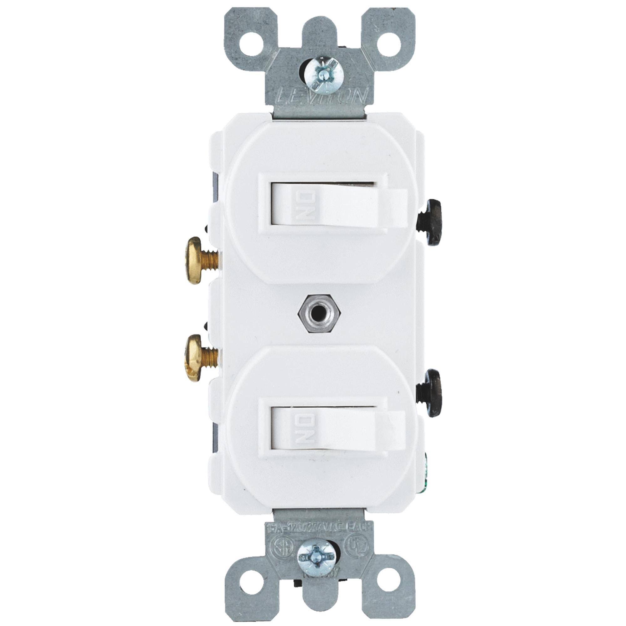 Leviton Combination Dual Toggle Switch - White, 15amp