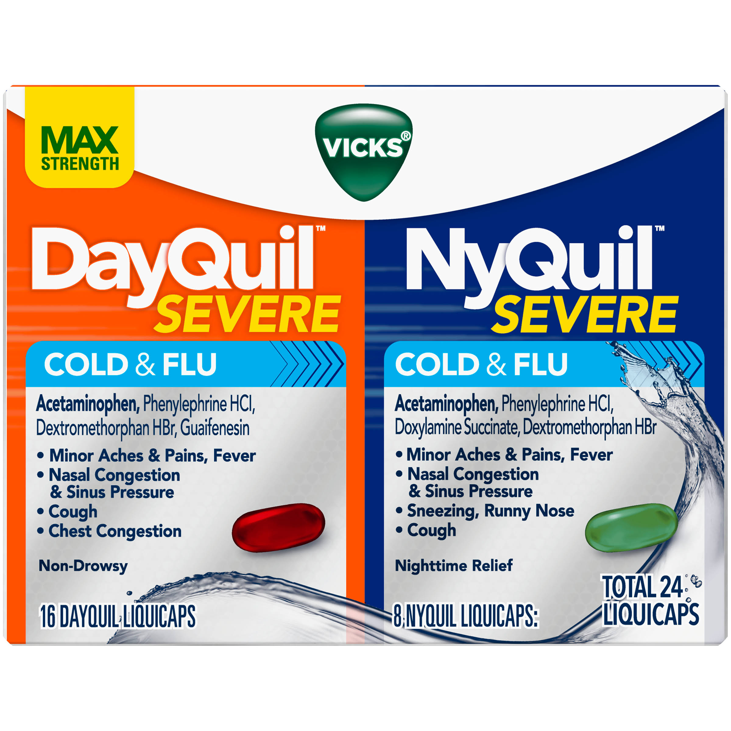 Vicks DayQuil Severe, NyQuil Severe, Cold & Flu, LiquiCaps - 24 liquicaps