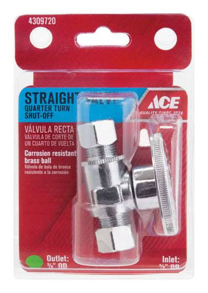 Ace Straight Valve - Quarter Turn, Chrome Plated