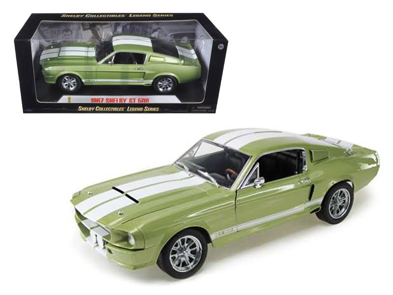1967 Ford Shelby Mustang GT 500 Green with White Stripes 1/18 Diecast Model Car