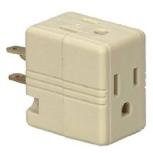 Cooper Wiring Bp1482v Grounded Cube Tap - Ivory, 3 Outlet, 3 Wire, 125V