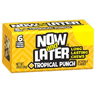Now & Later Gum - Tropical Punch, 6 Pieces