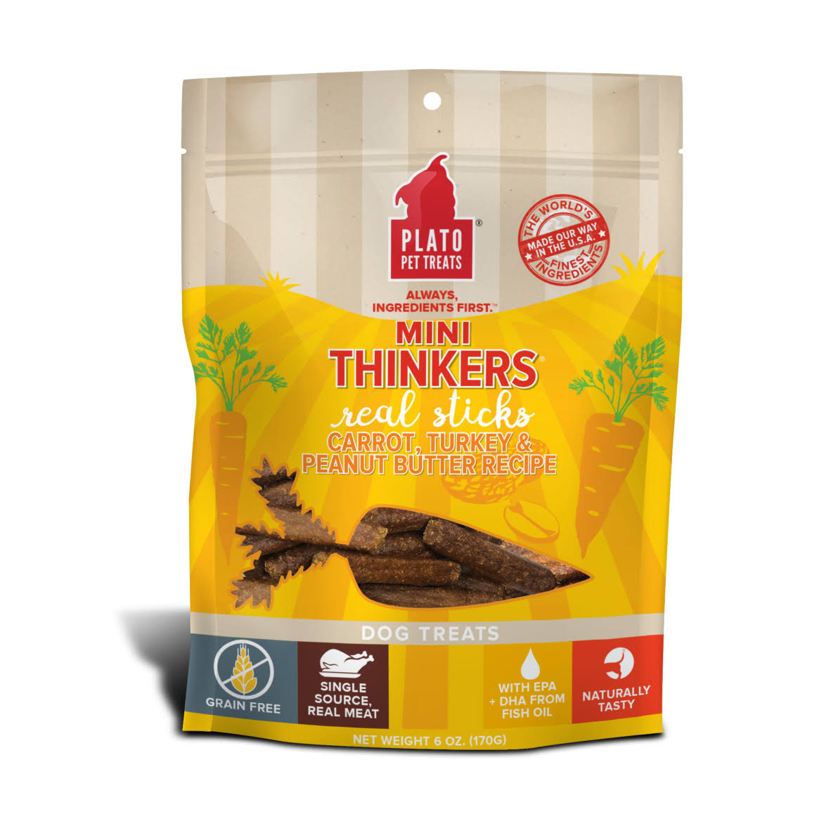 Plato Mini Thinkers Carrot, Turkey & Peanut Butter Recipe Dog Treats, 6oz