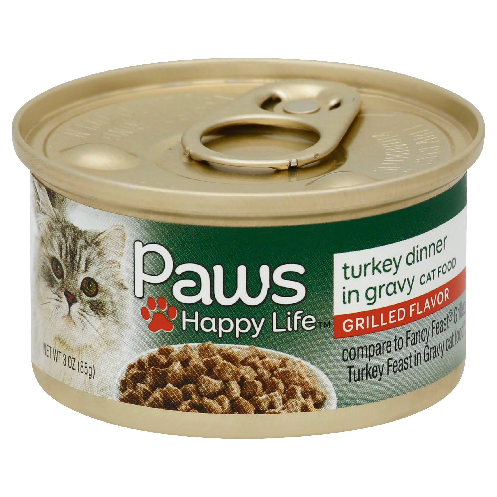 Paws Happy Life Cat Food, Grilled Flavor, Turkey Dinner, in Gravy - 3 oz