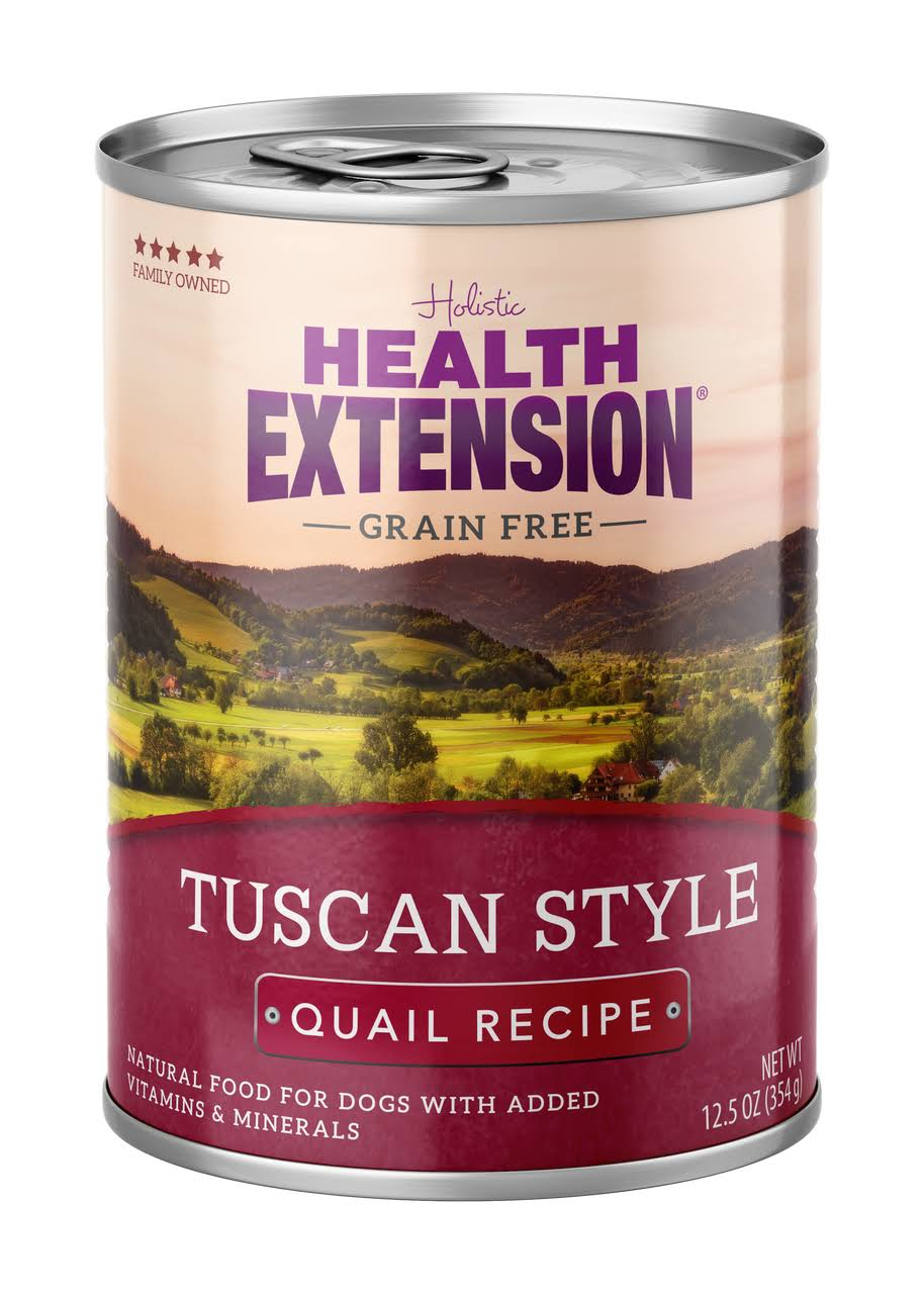 Health Extension Grain Free Tuscan Style Quail Recipe Canned Dog Food, 12.5 oz.