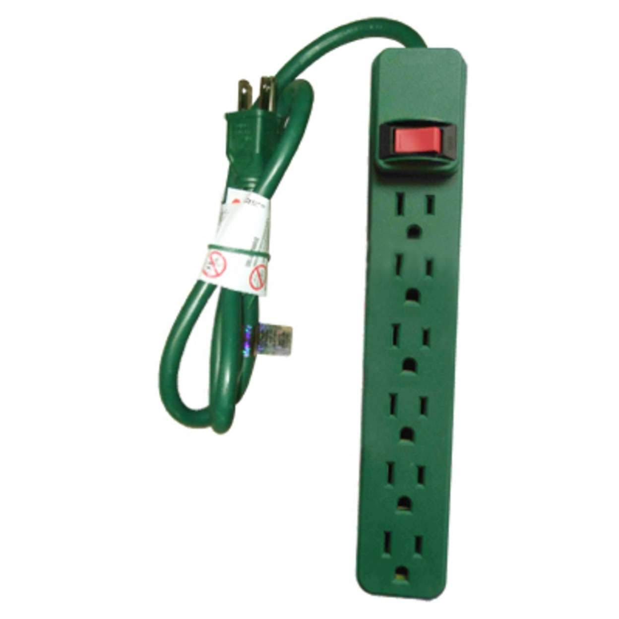 Kab Enterprise PS-669G 6-Outlet Power Strip, Green