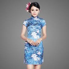 blue brocade strapless satin chapel train qipao chinese