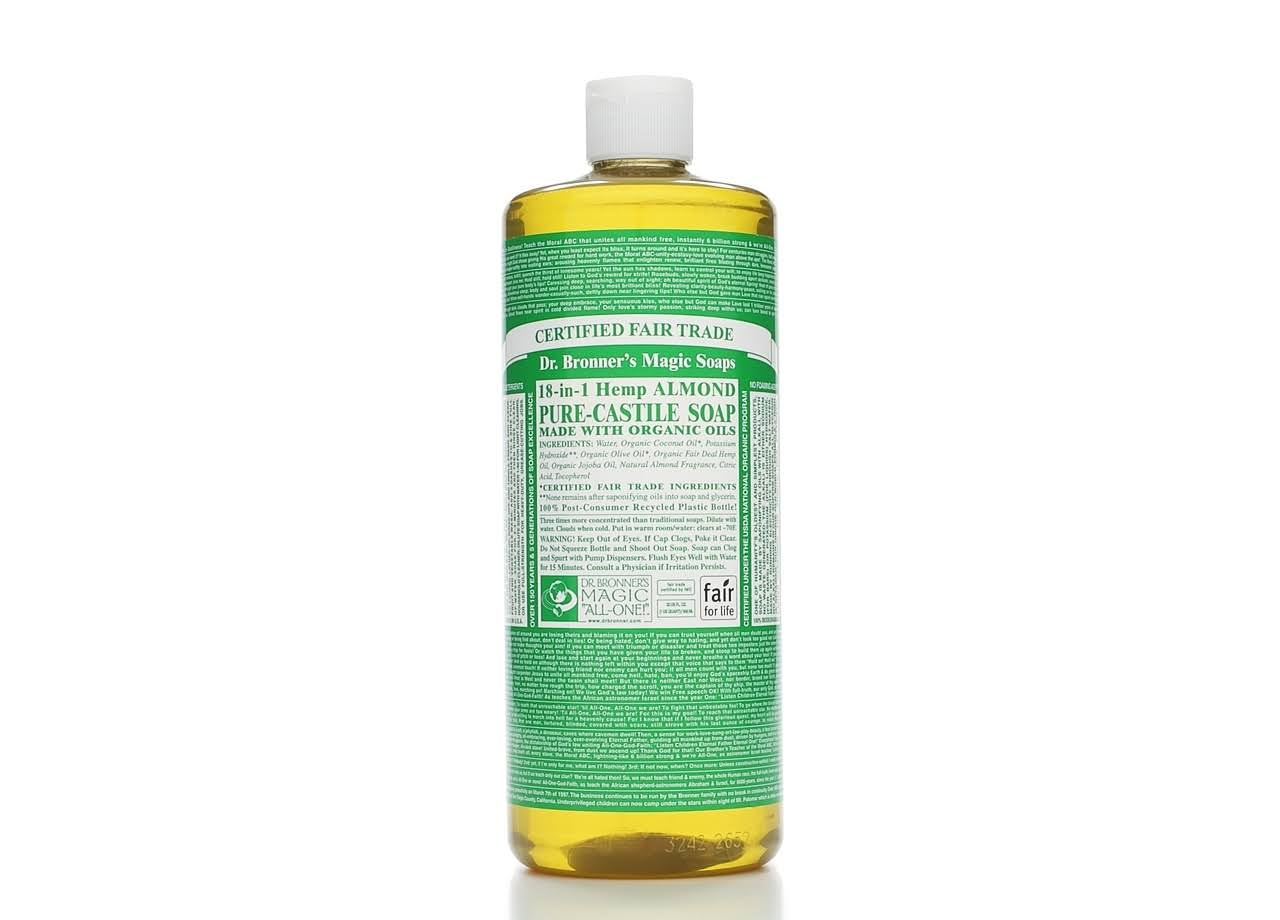 Dr. Bronner's Pure-Castile Liquid Soap, Almond - 32 fl oz bottle
