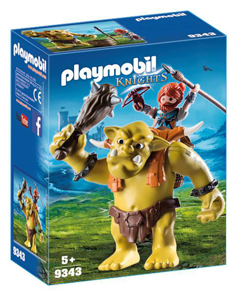 Playmobil 9343 Warrior With Giant Trolls Figure Set