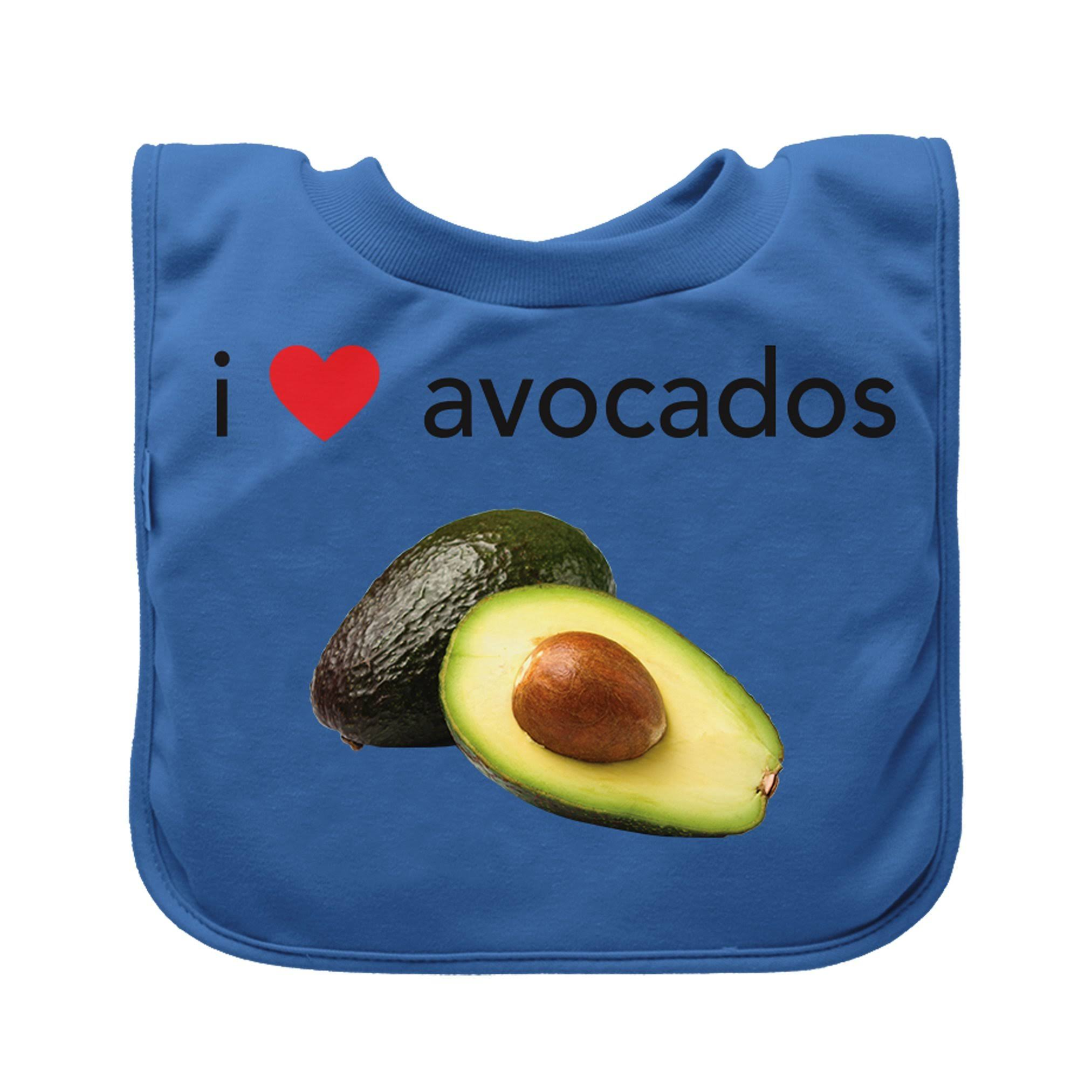Green Sprouts Avocado Pull-over Food Single Bib - Blue
