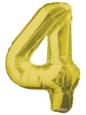 "Number Foil Balloon - No. 4, 34"", Gold"