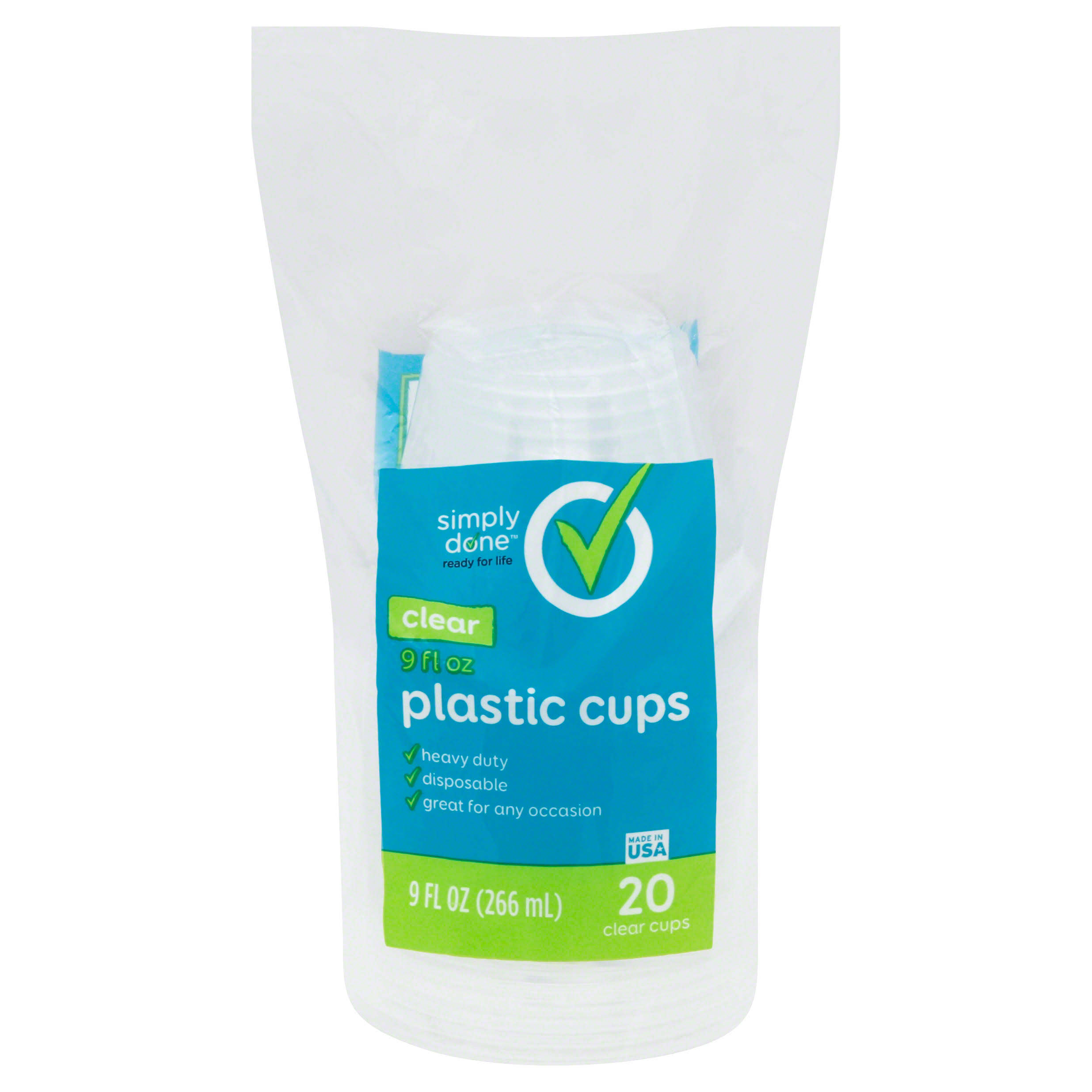 Simply Done Plastic Cups, Clear, 9 Fluid Ounce - 20 cups