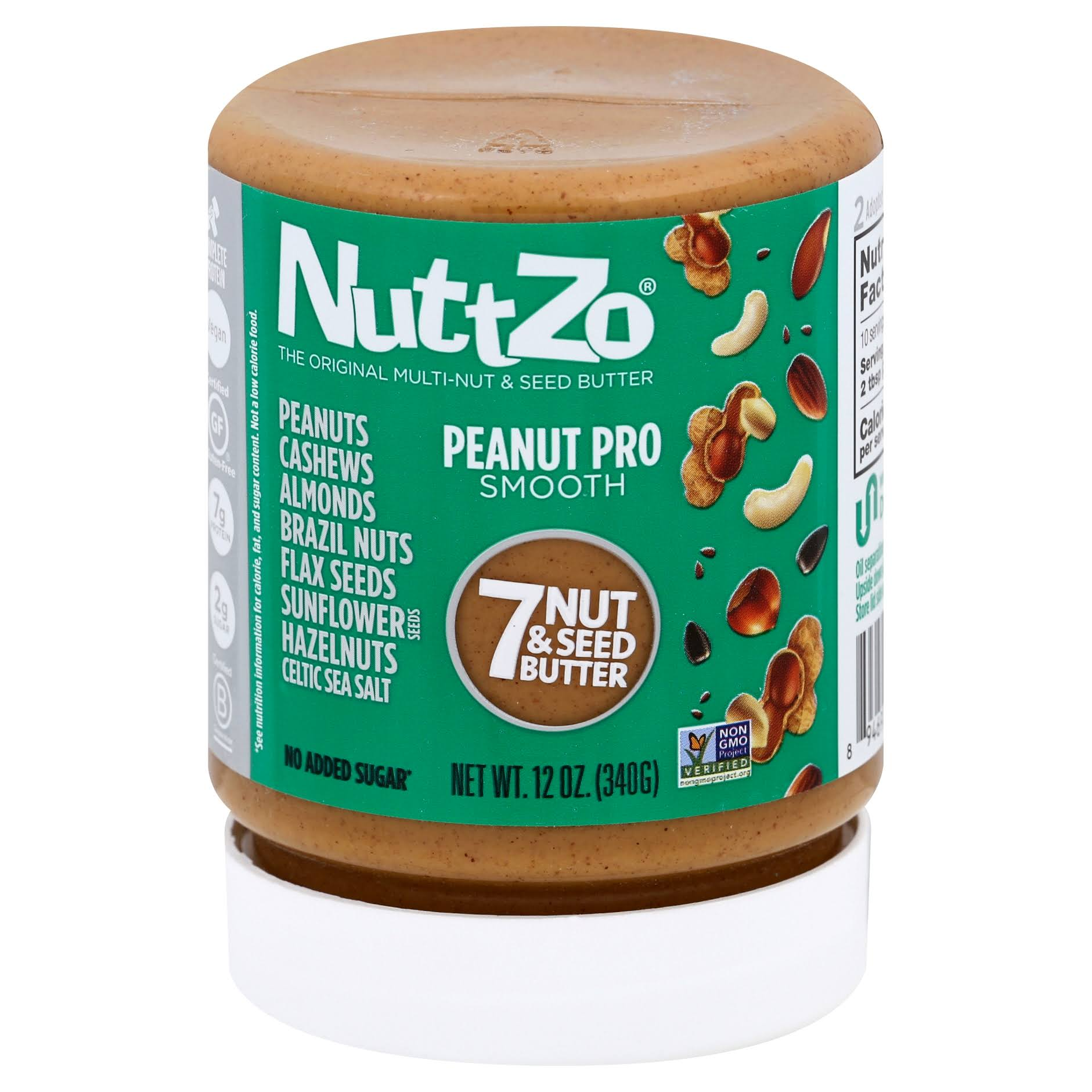 NuttZo 7 Nut & Seed Butter, Peanut Pro, Smooth - 12 oz