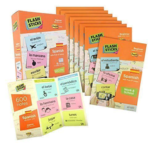 FlashSticks Spanish Beginner Level 1 Sticky Notes Box Set