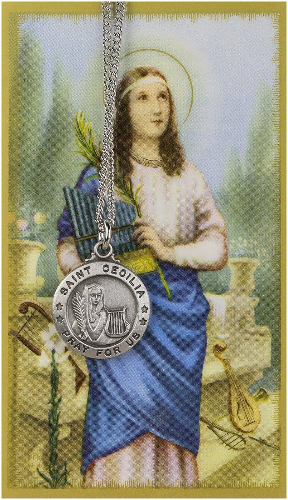 "Saint Cecilia 3/4"" Pewter Medal Pendant Necklace with Holy Prayer Card"
