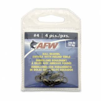 American Fishing Wire Black Ball Bearing Swivels (4 Pieces), Size 4, 200 Pound Test