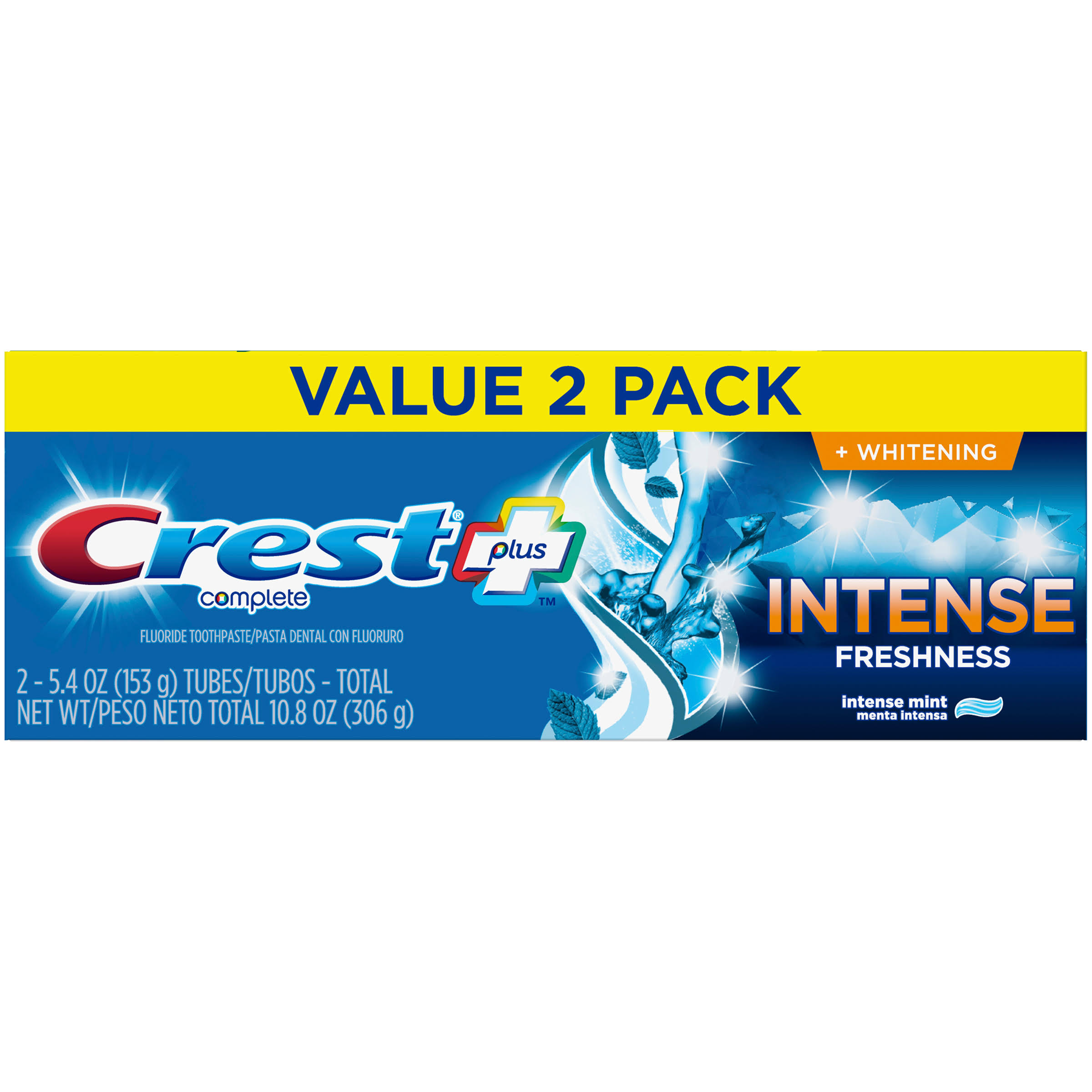 Crest + Intense Freshness Complete Whitening Toothpaste - 5.4oz - Pack of 2