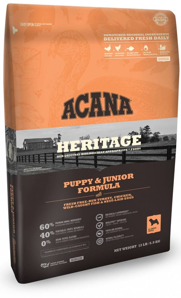 ACANA Heritage Puppy & Junior Formula Dry Dog Food 13-lb