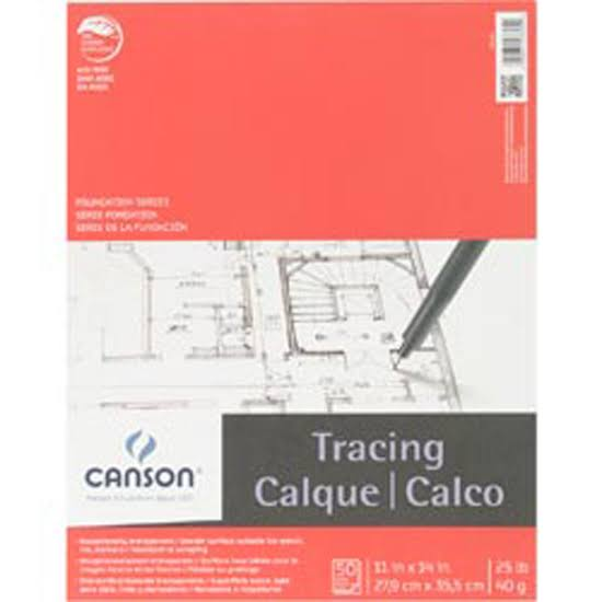 "Canson Foundation Series Tracing Paper Pad - 50 Sheets, 11"" x 14"""