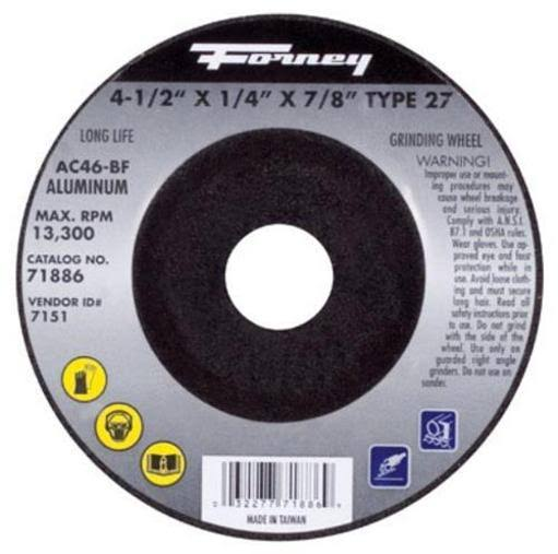 "Forney 71886 Grinding Wheel - with 7/8"" Arbor, Aluminum Type 27, AC46-BF, 4 1/2"" x 1/4"""