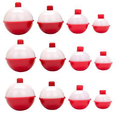Eagle Claw Push-Button Fishing Bobber Snap-On Floats Assortment - Red And White, 12pcs