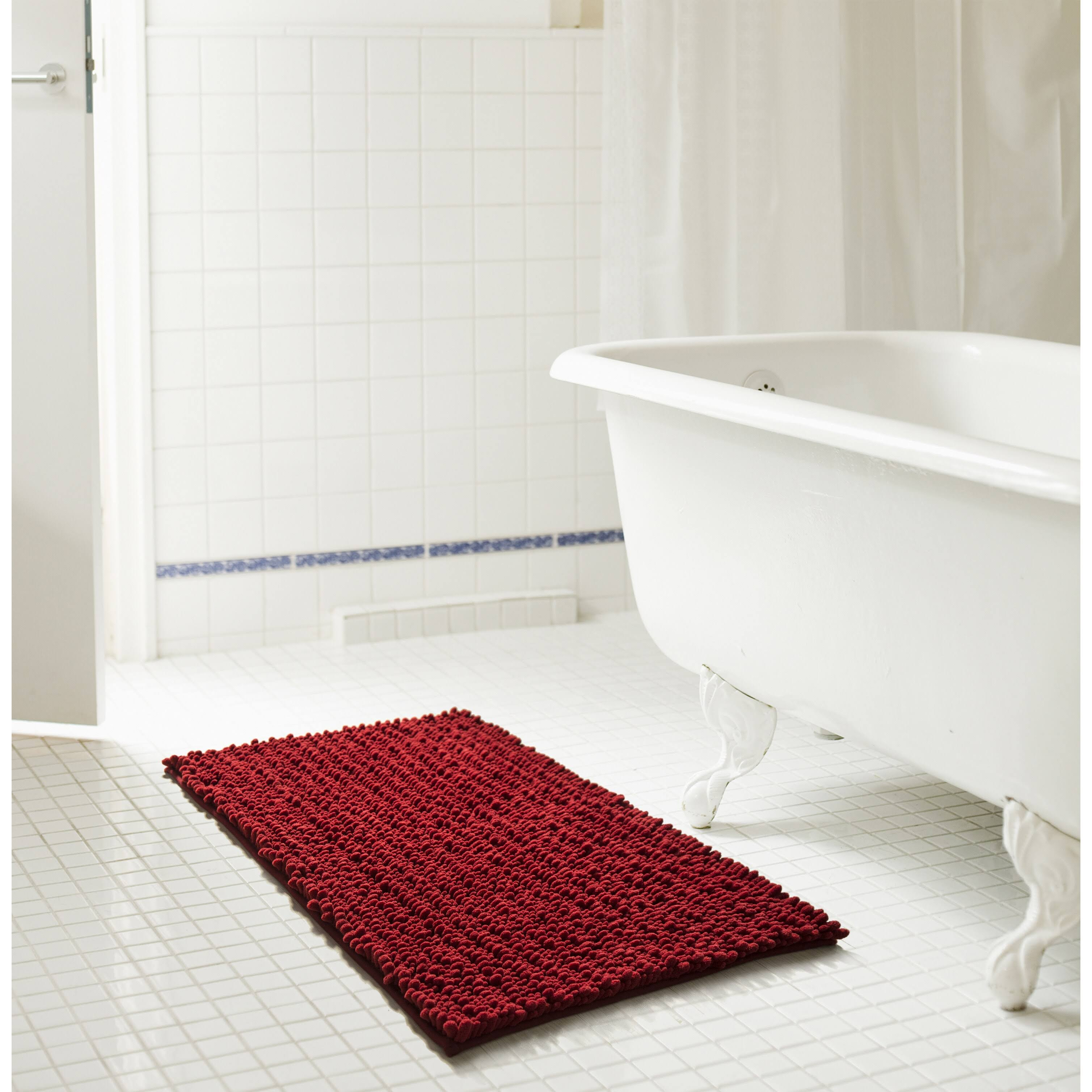 "RT Designers Collection Cali High Pile Chenille Bath Mat, Burgundy, 20"" x 32"""