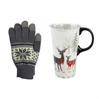 Cypress Home White Woods Ceramic Travel Cup and Glove Set