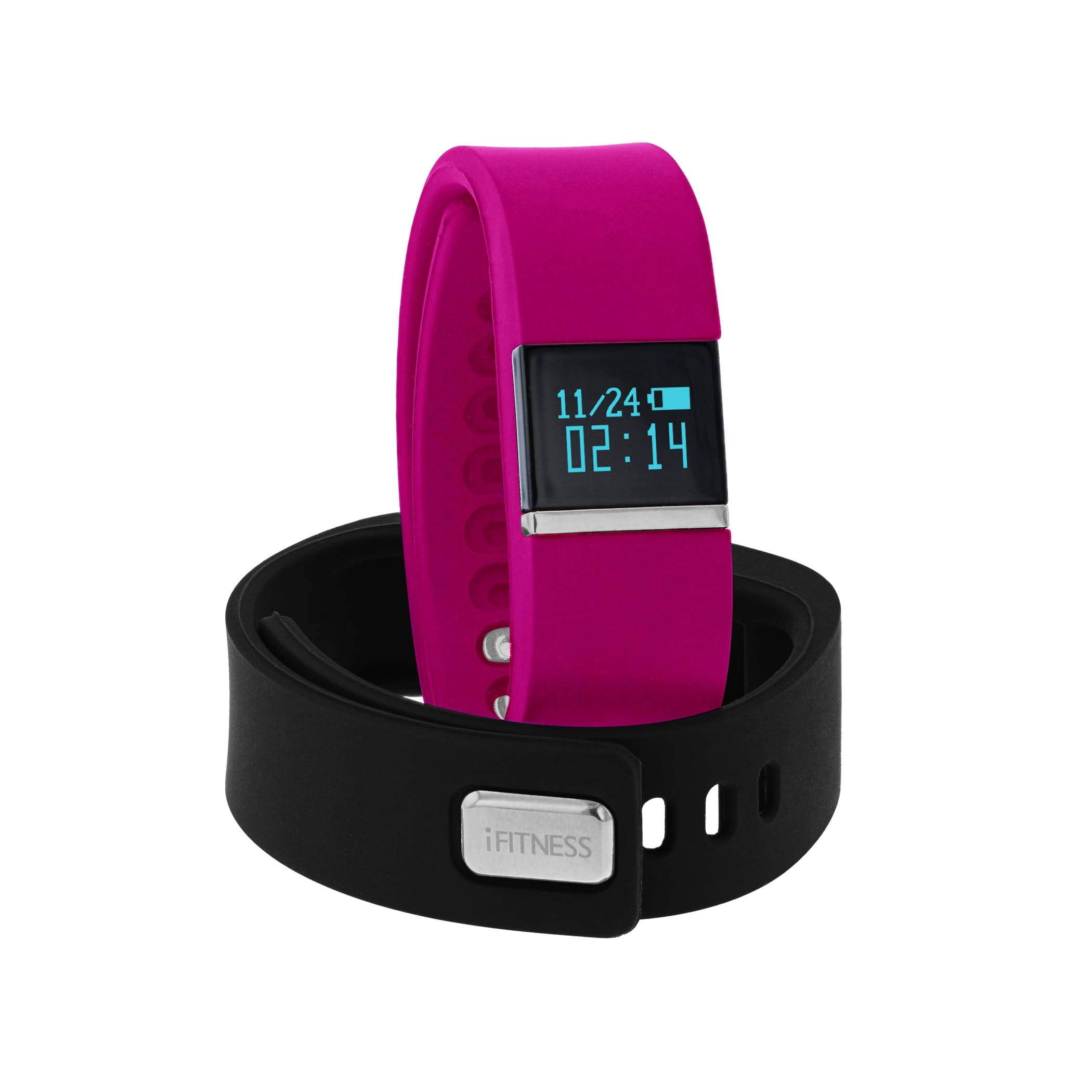 iFitness Women's Activity Tracker And Interchangeable Band Set - Black and Pink