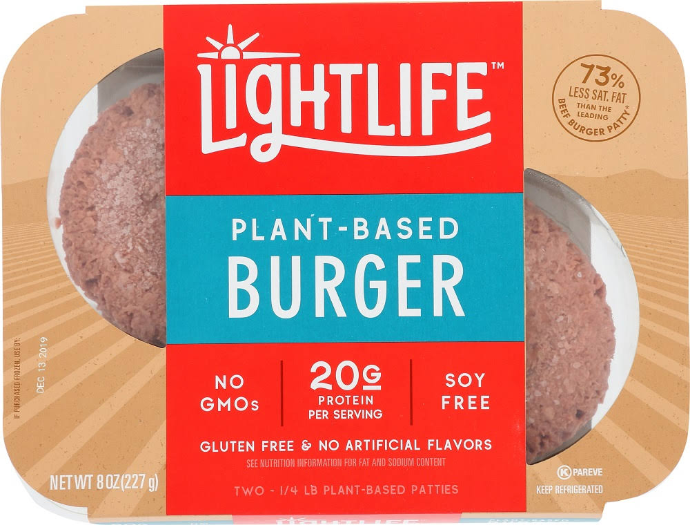 Lightlife Burger, Plant-Based - 2 pack, 0.25 lb patties