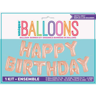 Happy Birthday Rose Gold Foil Balloon Banner