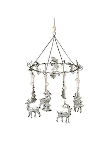 Abbott Collection Silverleaf Metal Deer & Tree Mobile, Antique Silver