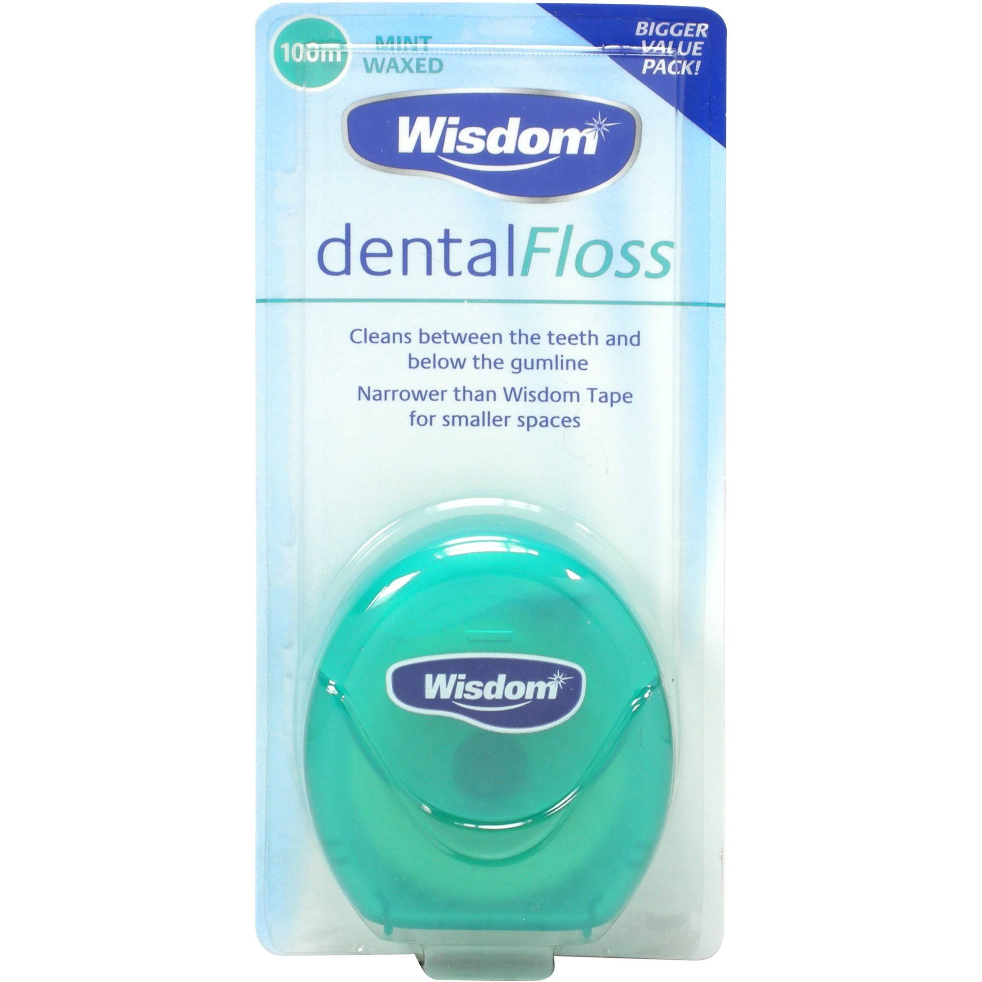 Wisdom Dental Floss - Mint Waxed, 100m