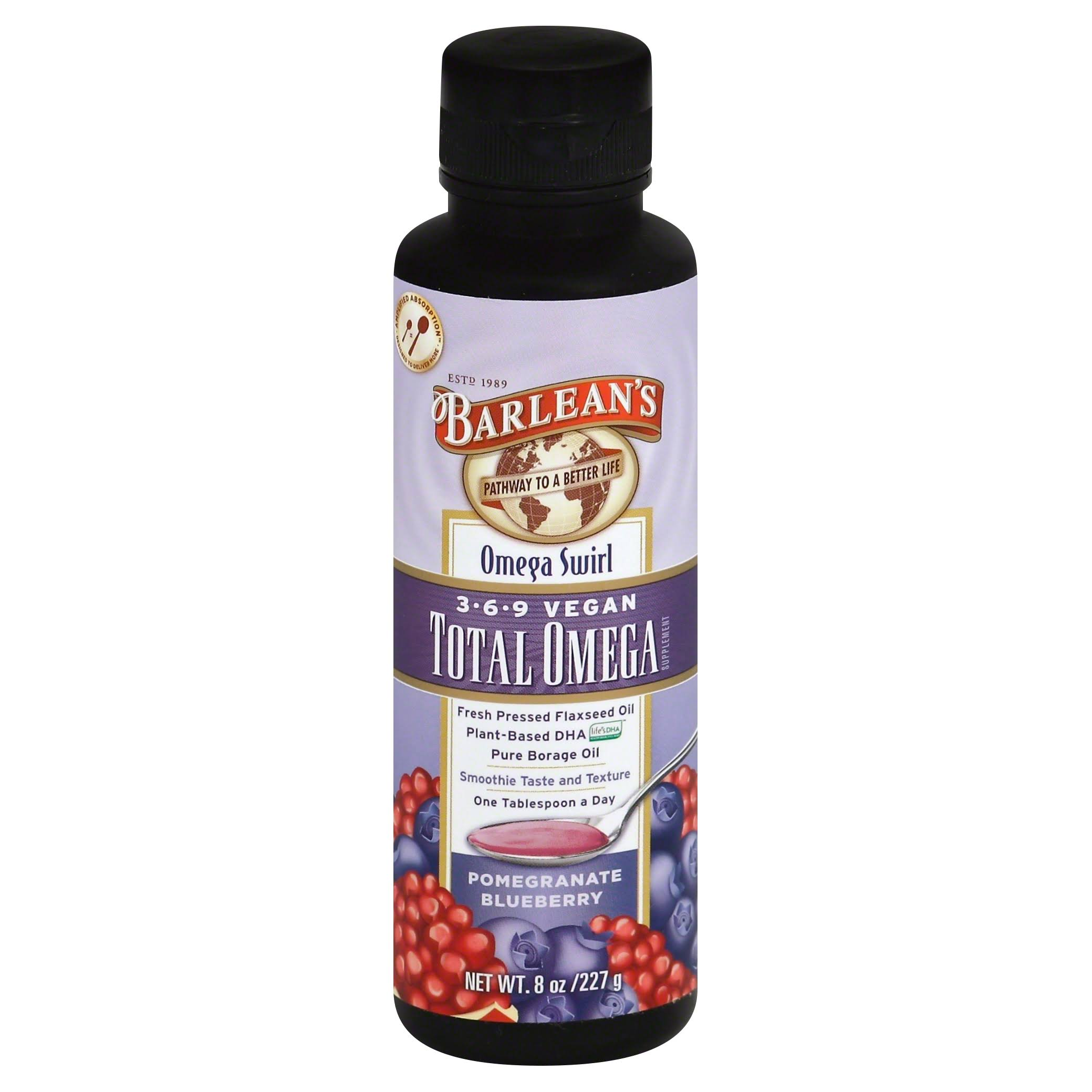 Barlean's Total Omega Vegan Swirl, Pomegranate Blueberry - 8 oz bottle