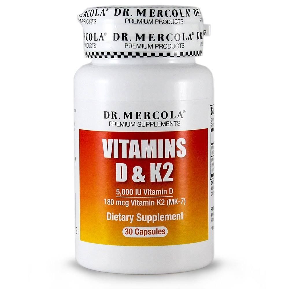 Dr. Mercola Vitamins D & K2 Dietary Supplement - 30 Capsules