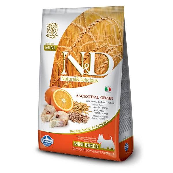N&D Ancestral Grain Canine Adult Dry Dog Food - Mini Breed, Codfish & Orange, 2.5kg