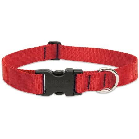 "Lupine Adjustable Dog Collar - Red, 1"" x 12-20"""
