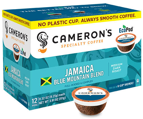 Camerons Jamaica Blue Mountain Blend Specialty Coffee Pods - Medium Dark Roast, 0.36 oz, 12ct